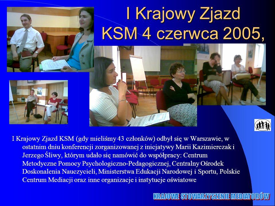 I Krajowy Zjazd KSM 4 czerwca 2005, I Krajowy Zjazd KSM (gdy mieliśmy 43 członków) odbył się w Warszawie, w ostatnim dniu konferencji zorganizowanej z inicjatywy Marii Kazimierczak i Jerzego Śliwy, którym udało się namówić do współpracy: Centrum Metodyczne Pomocy Psychologiczno-Pedagogicznej, Centralny Ośrodek Doskonalenia Nauczycieli, Ministerstwa Edukacji Narodowej i Sportu, Polskie Centrum Mediacji oraz inne organizacje i instytucje oświatowe