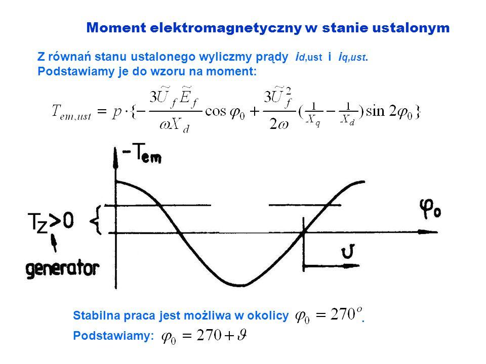 Moment elektromagnetyczny w stanie ustalonym Z równań stanu ustalonego wyliczmy prądy i d,ust i i q,ust. Podstawiamy je do wzoru na moment: Stabilna p