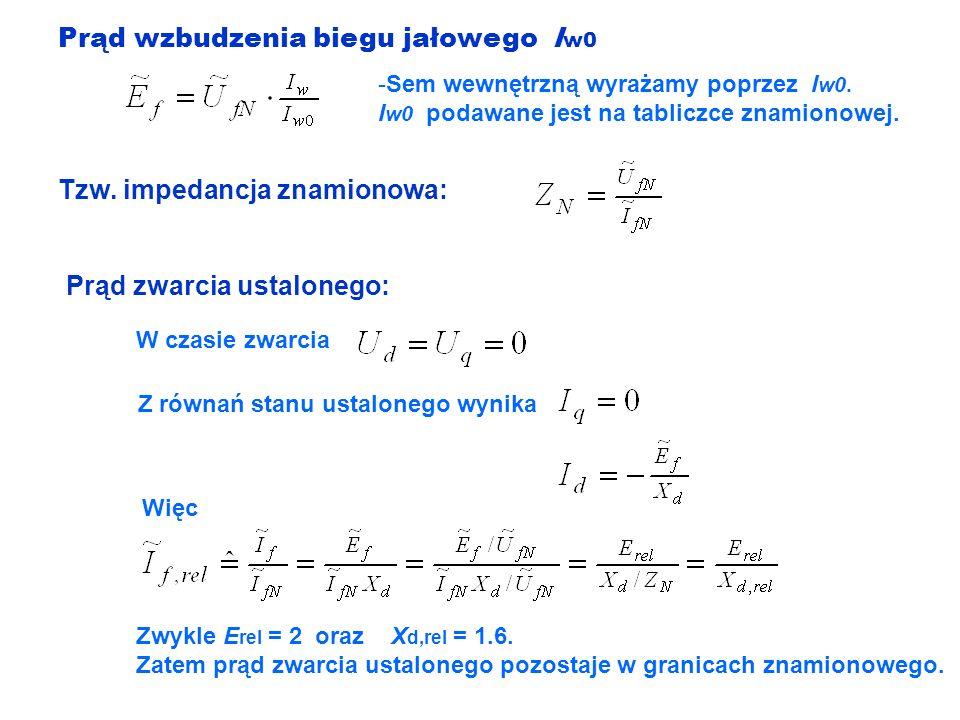 Prąd wzbudzenia biegu jałowego I w0 -Sem wewnętrzną wyrażamy poprzez I w0. I w0 podawane jest na tabliczce znamionowej. Prąd zwarcia ustalonego: Z rów