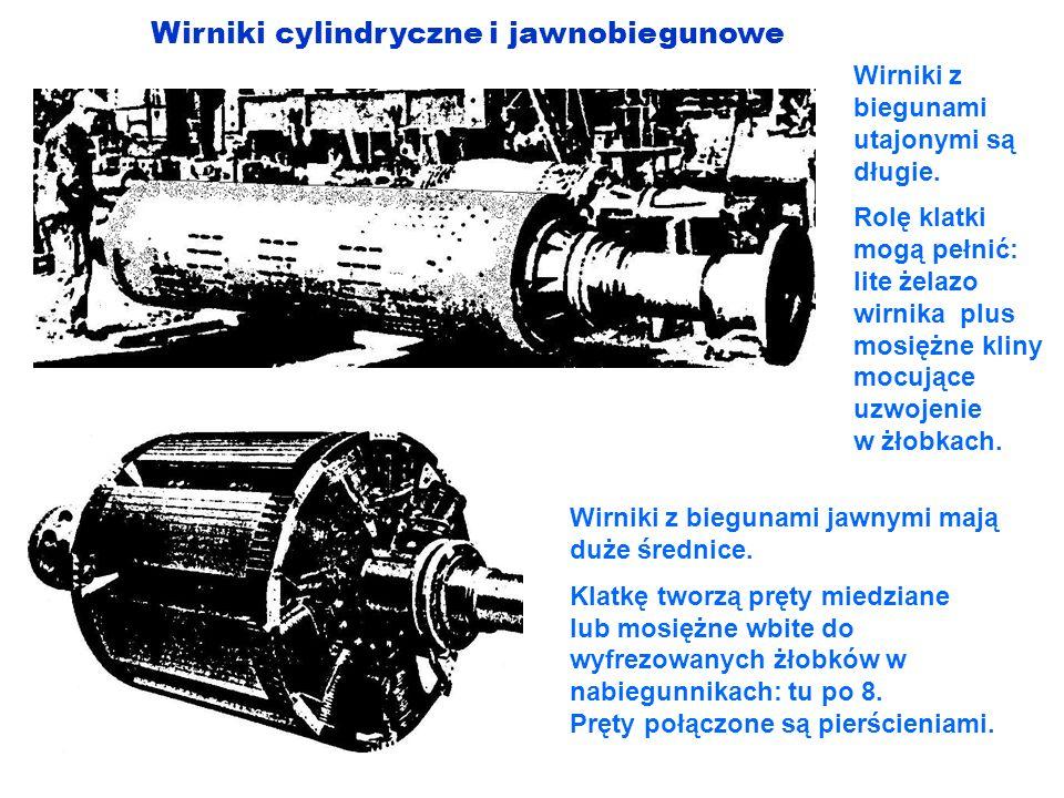 Wirniki cylindryczne i jawnobiegunowe Wirniki z biegunami utajonymi są długie. Rolę klatki mogą pełnić: lite żelazo wirnika plus mosiężne kliny mocują