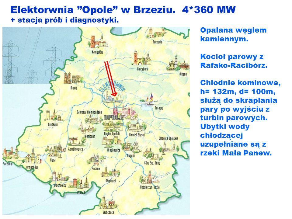 Elektorwnia Opole w Brzeziu. 4*360 MW + stacja prób i diagnostyki. Opalana węglem kamiennym. Kocioł parowy z Rafako-Racibórz. Chłodnie kominowe, h= 13