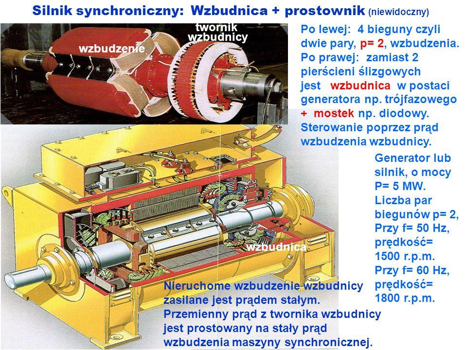 Silnik synchroniczny: Wzbudnica + prostownik (niewidoczny) Po lewej: 4 bieguny czyli dwie pary, p= 2, wzbudzenia. Po prawej: zamiast 2 pierścieni śliz