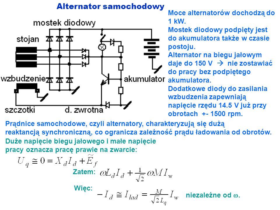 Alternator samochodowy Moce alternatorów dochodzą do 1 kW. Mostek diodowy podpięty jest do akumulatora także w czasie postoju. Alternator na biegu jał