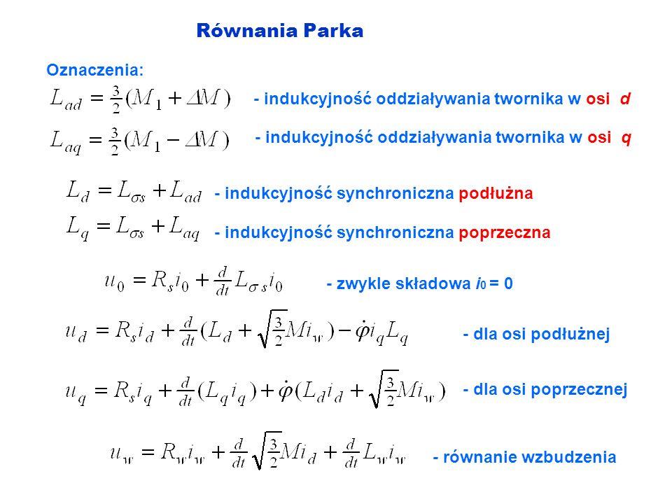 Równania Parka Oznaczenia: - indukcyjność oddziaływania twornika w osi d - indukcyjność oddziaływania twornika w osi q - indukcyjność synchroniczna po
