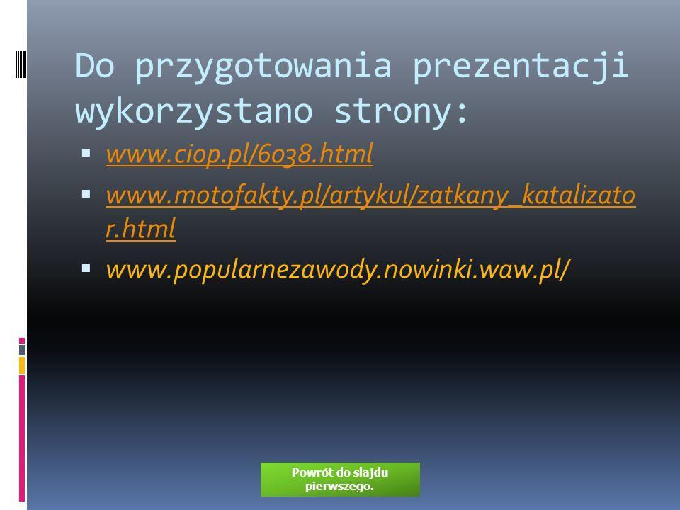 Do przygotowania prezentacji wykorzystano strony: www.ciop.pl/6038.html www.motofakty.pl/artykul/zatkany_katalizato r.html www.motofakty.pl/artykul/za