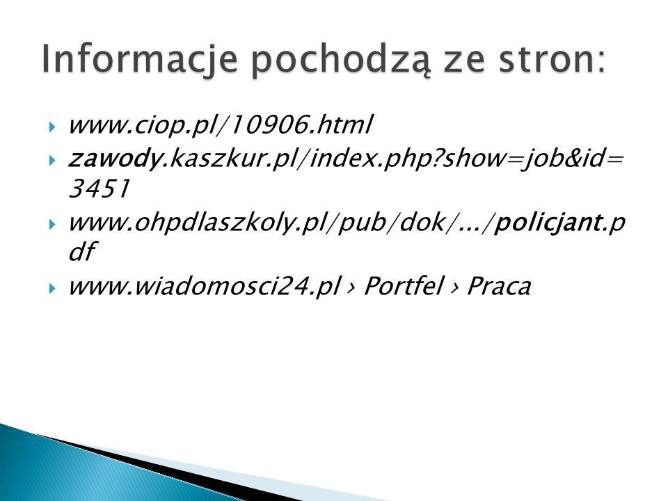 www.ciop.pl/10906.html zawody.kaszkur.pl/index.php?show=job&id= 3451 www.ohpdlaszkoly.pl/pub/dok/.../policjant.p df www.wiadomosci24.pl Portfel Praca