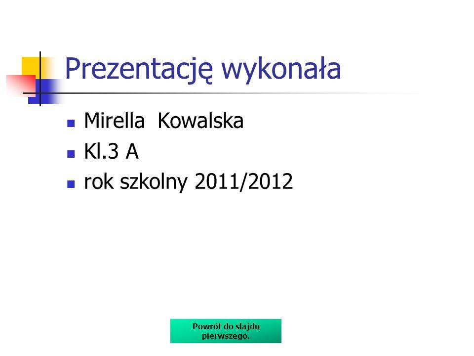 Prezentację wykonała Mirella Kowalska Kl.3 A rok szkolny 2011/2012 Powrót do slajdu pierwszego.