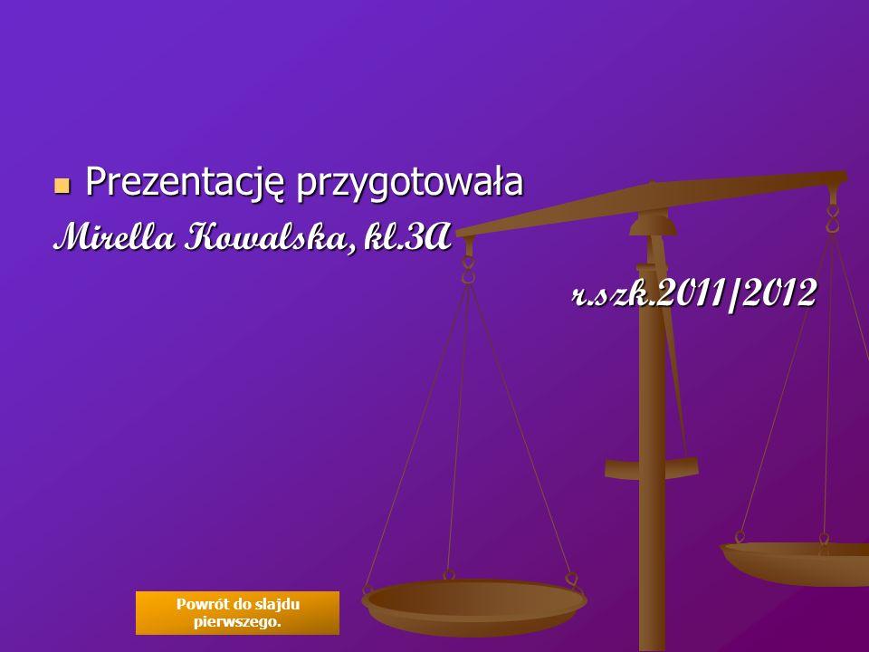 Prezentację przygotowała Prezentację przygotowała Mirella Kowalska, kl.3A r.szk.2011/2012 Powrót do slajdu pierwszego.