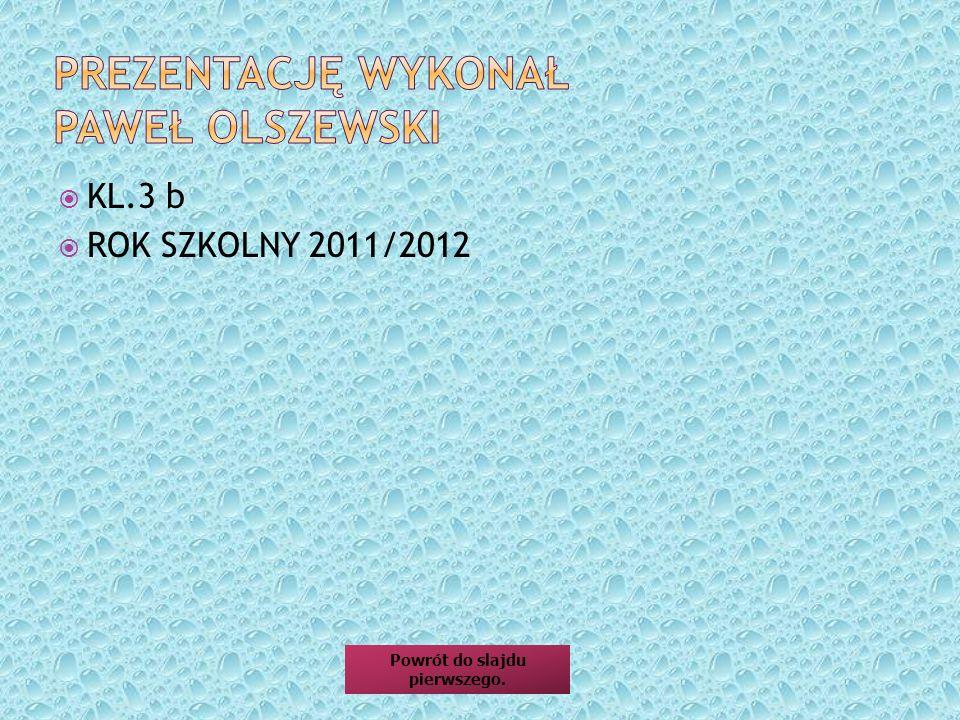 KL.3 b ROK SZKOLNY 2011/2012 Powrót do slajdu pierwszego.