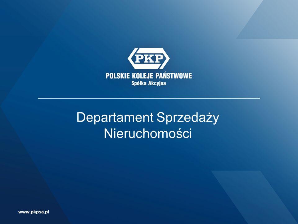 Departament Sprzedaży Nieruchomości ul. Szczęśliwicka 62, 00-973 Warszawa Tel.: (+48 22) 47 49 065 e-mail: knds@pkp.pl www.pkpsa.pl Departament Sprzed