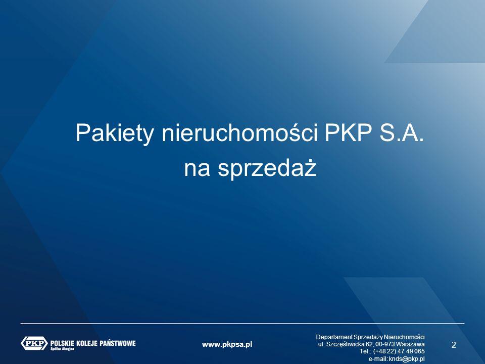 ul. Szczęśliwicka 62, 00-973 Warszawa Tel.: (+48 22) 47 49 065 e-mail: knds@pkp.pl www.pkpsa.pl Departament Sprzedaży Nieruchomości ul. Szczęśliwicka