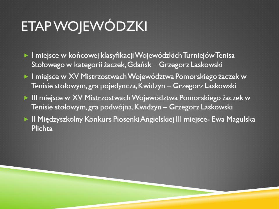 ETAP WOJEWÓDZKI I miejsce w końcowej klasyfikacji Wojewódzkich Turniejów Tenisa Stołowego w kategorii żaczek, Gdańsk – Grzegorz Laskowski I miejsce w