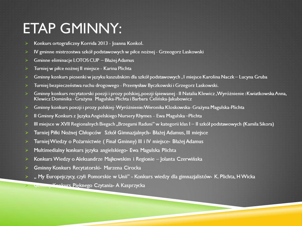 ETAP GMINNY: Konkurs ortograficzny Korrida 2013 - Joanna Konkol. IV gminne mistrzostwa szkół podstawowych w piłce nożnej - Grzeogorz Laskowski Gminne