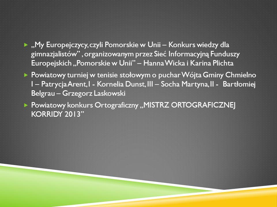 My Europejczycy, czyli Pomorskie w Unii – Konkurs wiedzy dla gimnazjalistów, organizowanym przez Sieć Informacyjną Funduszy Europejskich Pomorskie w U