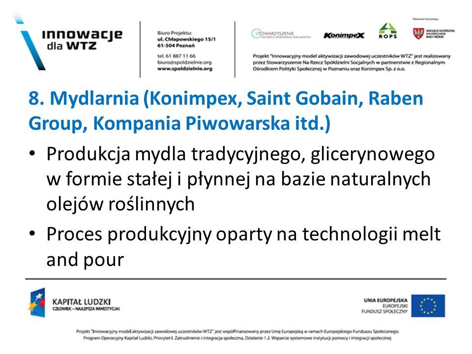8. Mydlarnia (Konimpex, Saint Gobain, Raben Group, Kompania Piwowarska itd.) Produkcja mydla tradycyjnego, glicerynowego w formie stałej i płynnej na