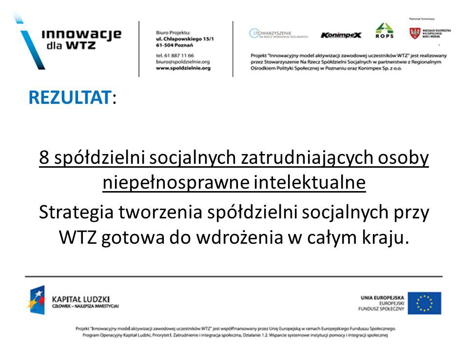 , REZULTAT: 8 spółdzielni socjalnych zatrudniających osoby niepełnosprawne intelektualne Strategia tworzenia spółdzielni socjalnych przy WTZ gotowa do