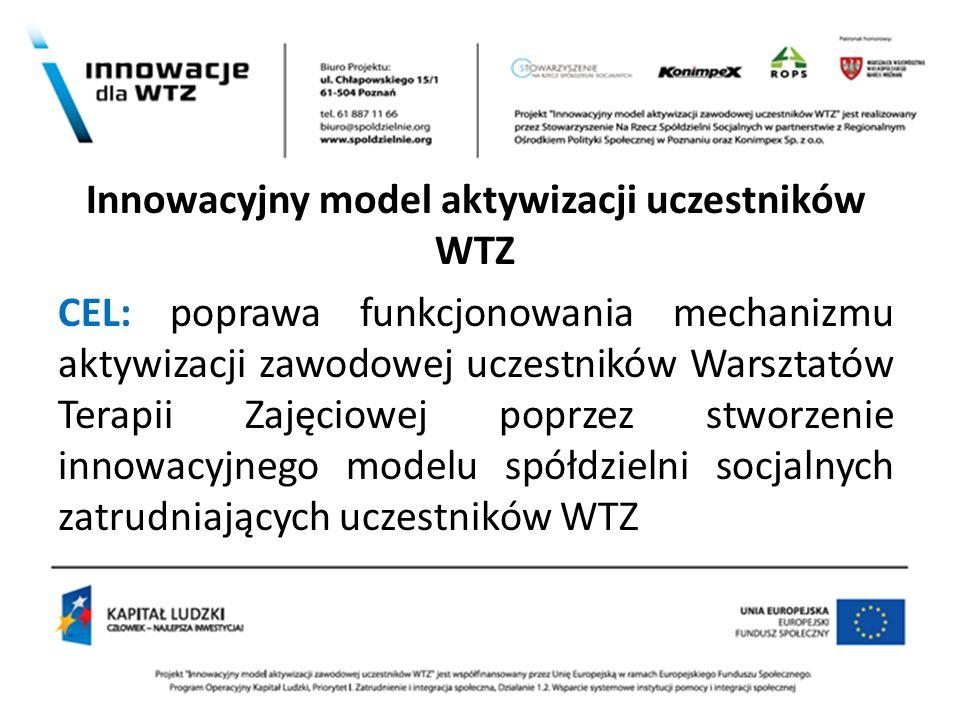z Innowacyjny model aktywizacji uczestników WTZ CEL: poprawa funkcjonowania mechanizmu aktywizacji zawodowej uczestników Warsztatów Terapii Zajęciowej
