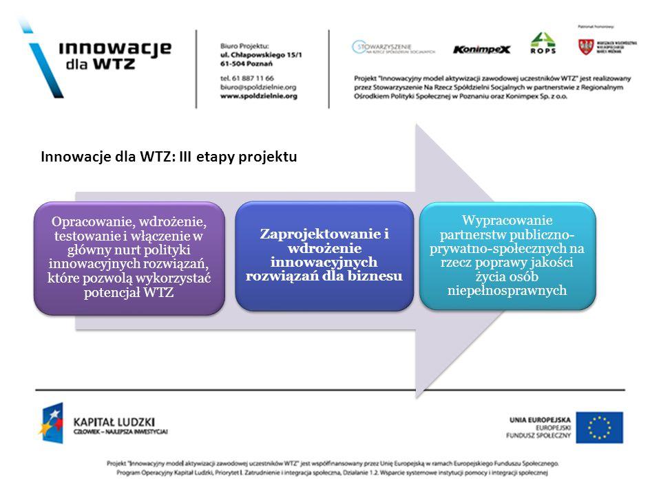 Opracowanie, wdrożenie, testowanie i włączenie w główny nurt polityki innowacyjnych rozwiązań, które pozwolą wykorzystać potencjał WTZ Zaprojektowanie