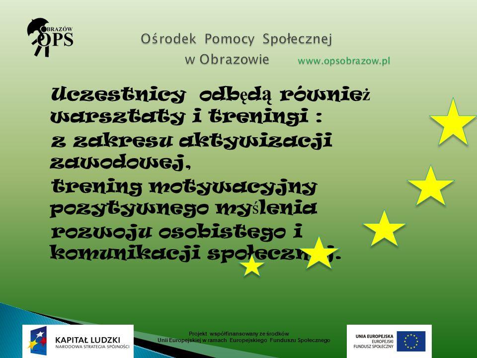 Projekt współfinansowany ze środków Unii Europejskiej w ramach Europejskiego Funduszu Społecznego Uczestnicy odb ę d ą równie ż warsztaty i treningi :