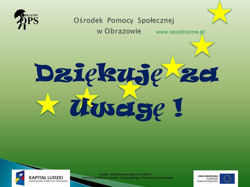 Projekt współfinansowany ze środków Unii Europejskiej w ramach Europejskiego Funduszu Społecznego Dzi ę kuj ę za Uwag ę !