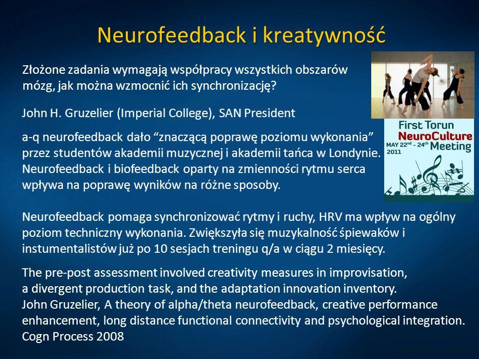 Neurofeedback i kreatywność Złożone zadania wymagają współpracy wszystkich obszarów mózg, jak można wzmocnić ich synchronizację? John H. Gruzelier (Im
