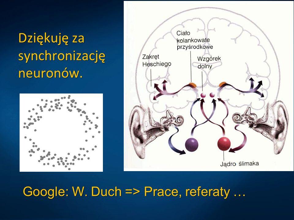 Dziękuję za synchronizację neuronów. Google: W. Duch => Prace, referaty …
