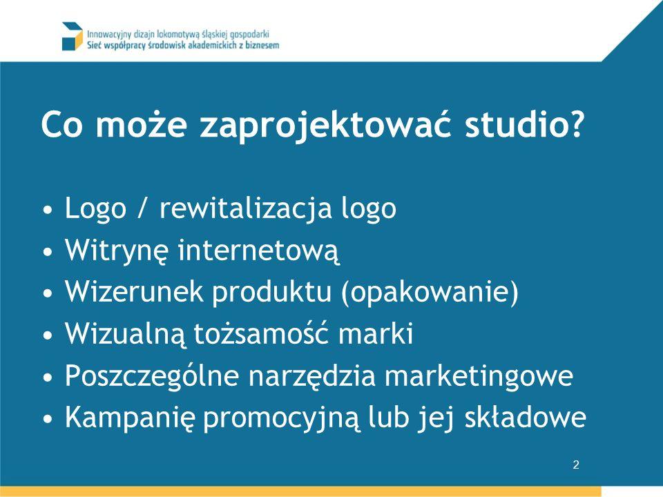 Co może zaprojektować studio? Logo / rewitalizacja logo Witrynę internetową Wizerunek produktu (opakowanie) Wizualną tożsamość marki Poszczególne narz