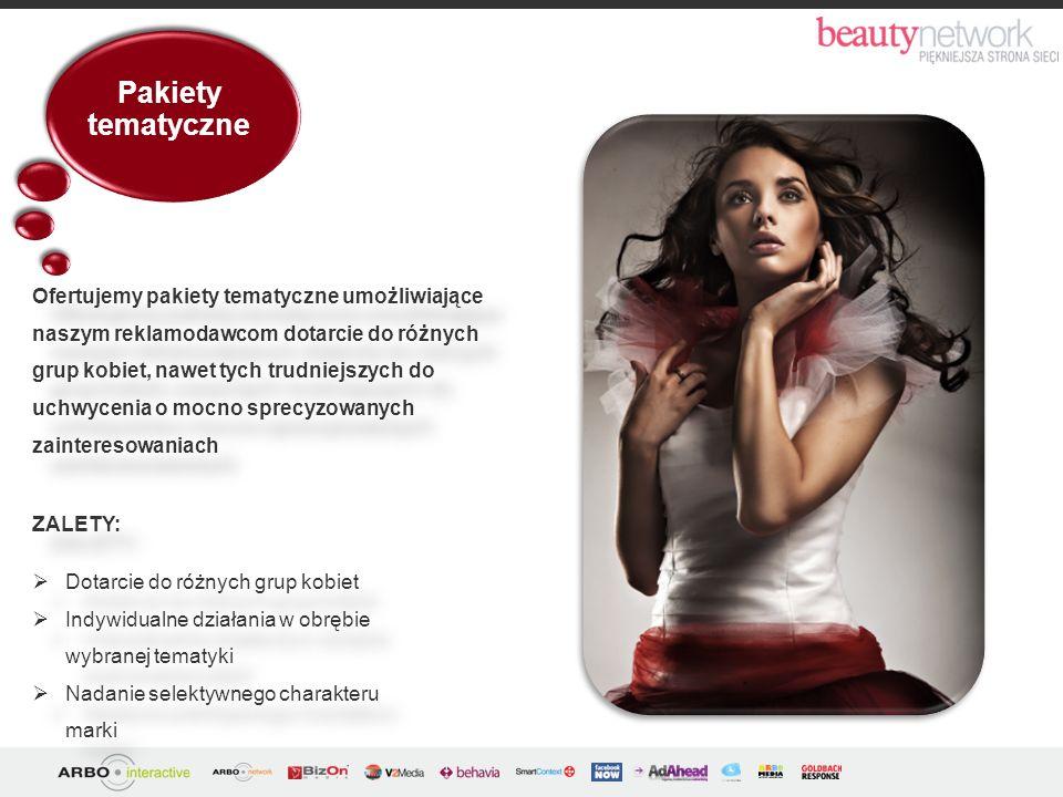 Pakiety tematyczne ZALETY: Dotarcie do różnych grup kobiet Indywidualne działania w obrębie wybranej tematyki Nadanie selektywnego charakteru marki ZA