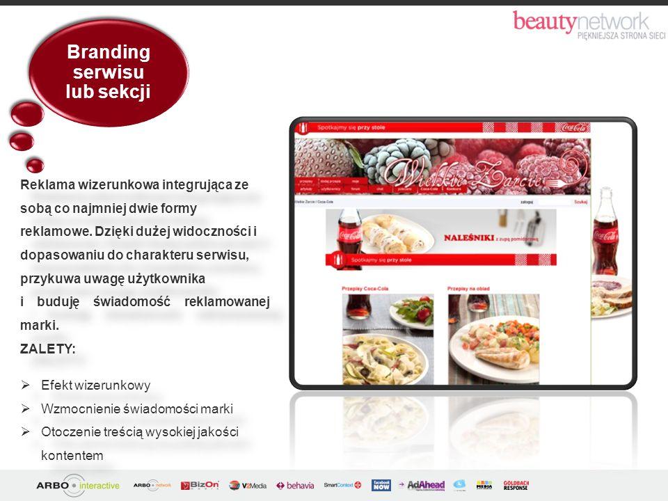 Branding serwisu lub sekcji ZALETY: Efekt wizerunkowy Wzmocnienie świadomości marki Otoczenie treścią wysokiej jakości kontentem ZALETY: Efekt wizerun