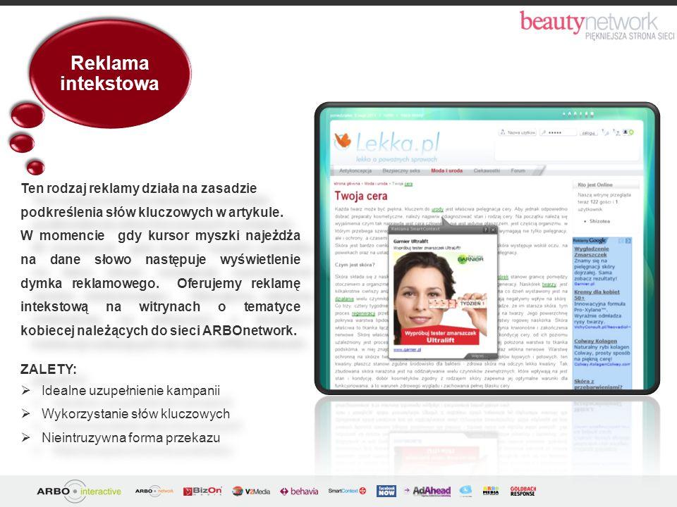 Reklama intekstowa ZALETY: Idealne uzupełnienie kampanii Wykorzystanie słów kluczowych Nieintruzywna forma przekazu ZALETY: Idealne uzupełnienie kampa