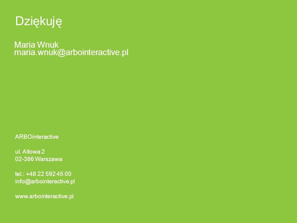ARBOinteractive ul. Altowa 2 02-386 Warszawa tel.: +48 22 592 45 00 info@arbointeractive.pl www.arbointeractive.pl Dziękuję Maria Wnuk maria.wnuk@arbo