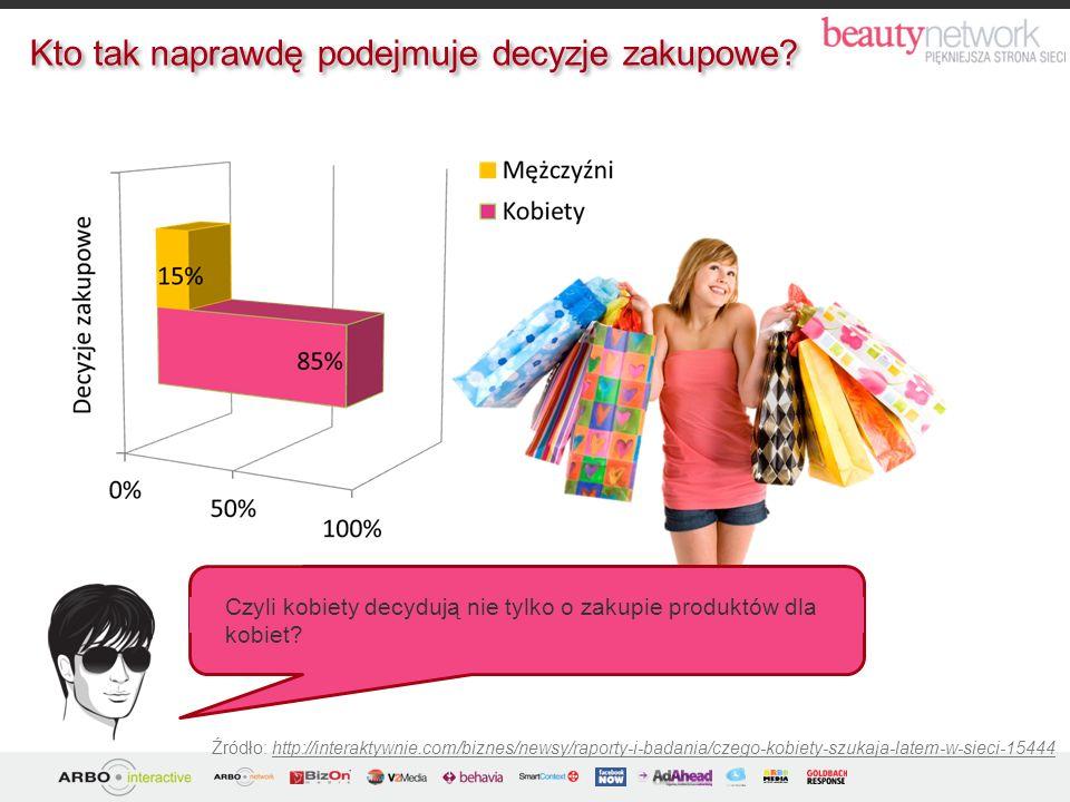 Źródło: http://interaktywnie.com/biznes/newsy/raporty-i-badania/czego-kobiety-szukaja-latem-w-sieci-15444 Czyli kobiety decydują nie tylko o zakupie p