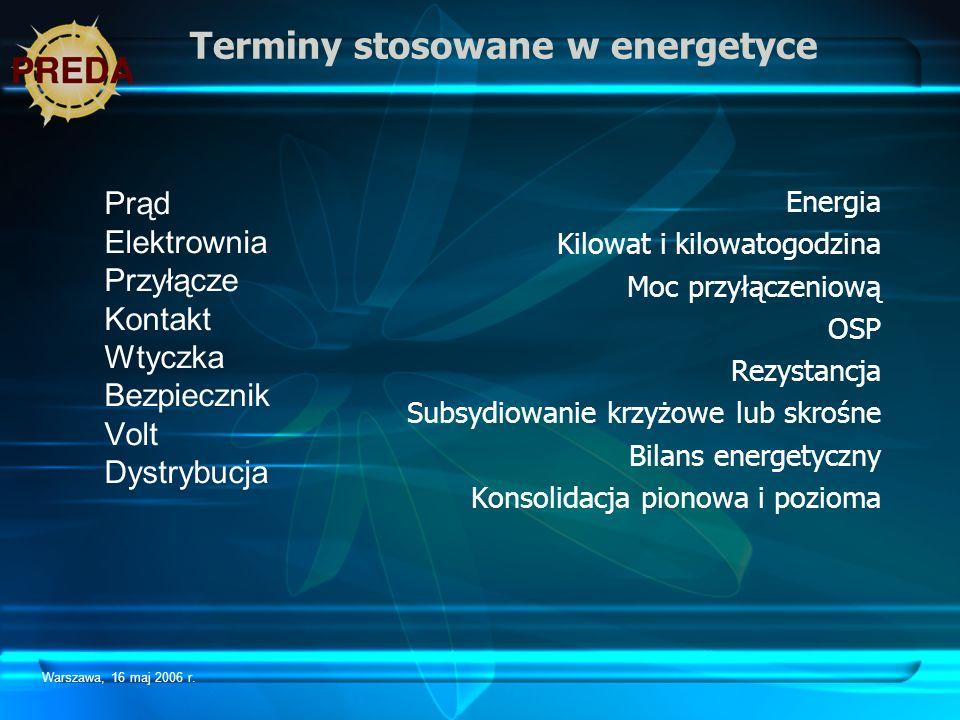 Warszawa, 16 maj 2006 r. Terminy stosowane w energetyce Prąd Elektrownia Przyłącze Kontakt Wtyczka Bezpiecznik Volt Dystrybucja Energia Kilowat i kilo