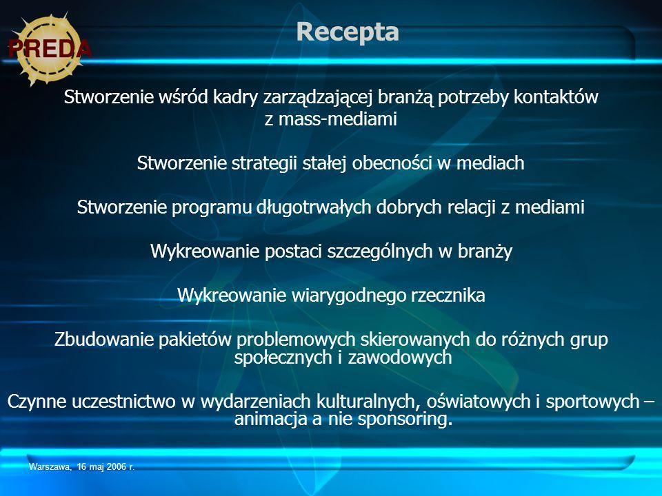 Warszawa, 16 maj 2006 r. Recepta Stworzenie wśród kadry zarządzającej branżą potrzeby kontaktów z mass-mediami Stworzenie strategii stałej obecności w