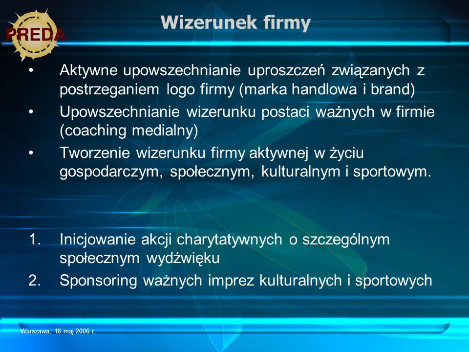 Warszawa, 16 maj 2006 r. Wizerunek firmy Aktywne upowszechnianie uproszczeń związanych z postrzeganiem logo firmy (marka handlowa i brand) Upowszechni