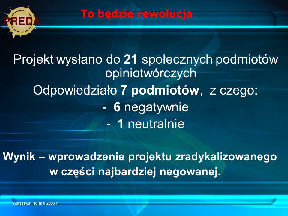 Warszawa, 16 maj 2006 r. To będzie rewolucja Projekt wysłano do 21 społecznych podmiotów opiniotwórczych Odpowiedziało 7 podmiotów, z czego: - 6 negat