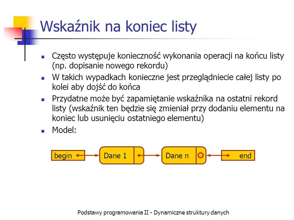 Podstawy programowania II - Dynamiczne struktury danych Wskaźnik na koniec listy Często występuje konieczność wykonania operacji na końcu listy (np. d