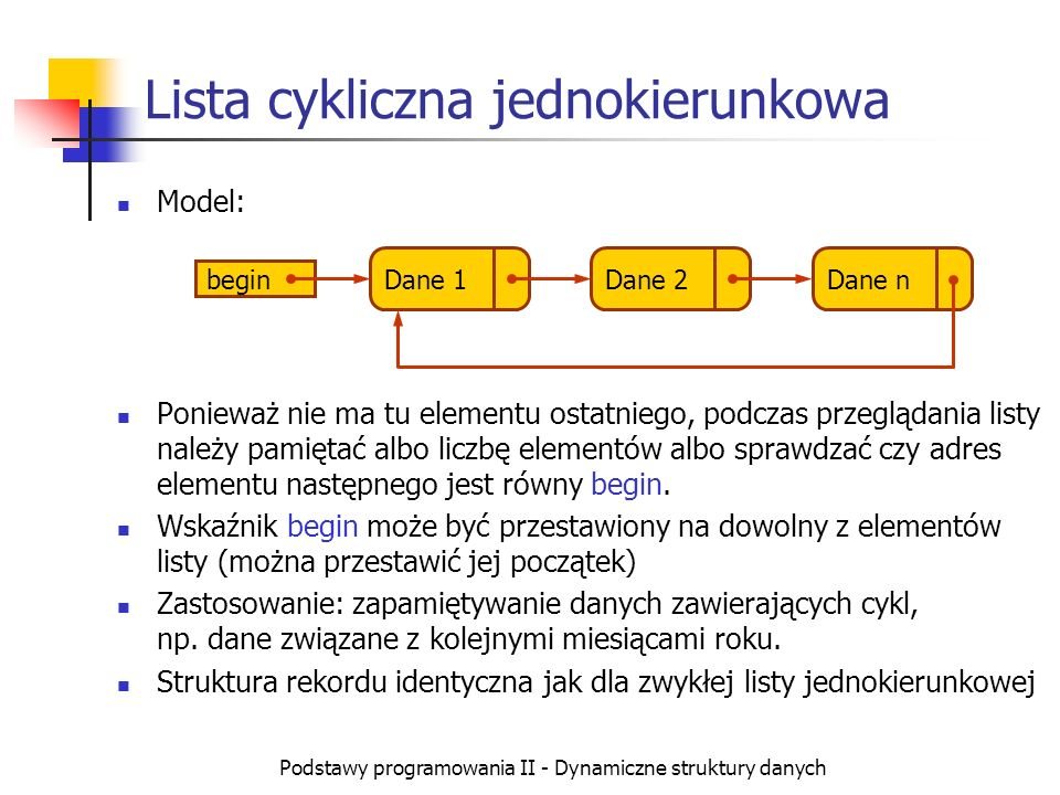 Podstawy programowania II - Dynamiczne struktury danych Lista cykliczna jednokierunkowa Model: Ponieważ nie ma tu elementu ostatniego, podczas przeglą