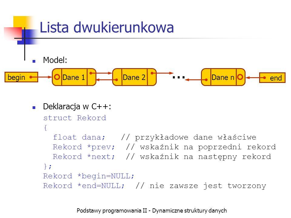 Podstawy programowania II - Dynamiczne struktury danych Model: Deklaracja w C++: struct Rekord { float dana; // przykładowe dane właściwe Rekord *prev