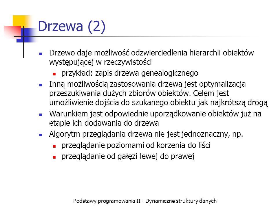 Podstawy programowania II - Dynamiczne struktury danych Drzewa (2) Drzewo daje możliwość odzwierciedlenia hierarchii obiektów występującej w rzeczywis