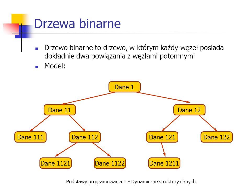 Podstawy programowania II - Dynamiczne struktury danych Drzewa binarne Drzewo binarne to drzewo, w którym każdy węzeł posiada dokładnie dwa powiązania