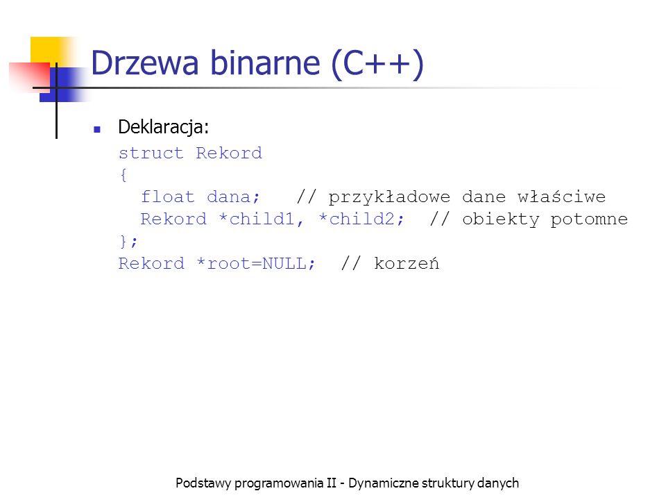 Podstawy programowania II - Dynamiczne struktury danych Drzewa binarne (C++) Deklaracja: struct Rekord { float dana; // przykładowe dane właściwe Reko