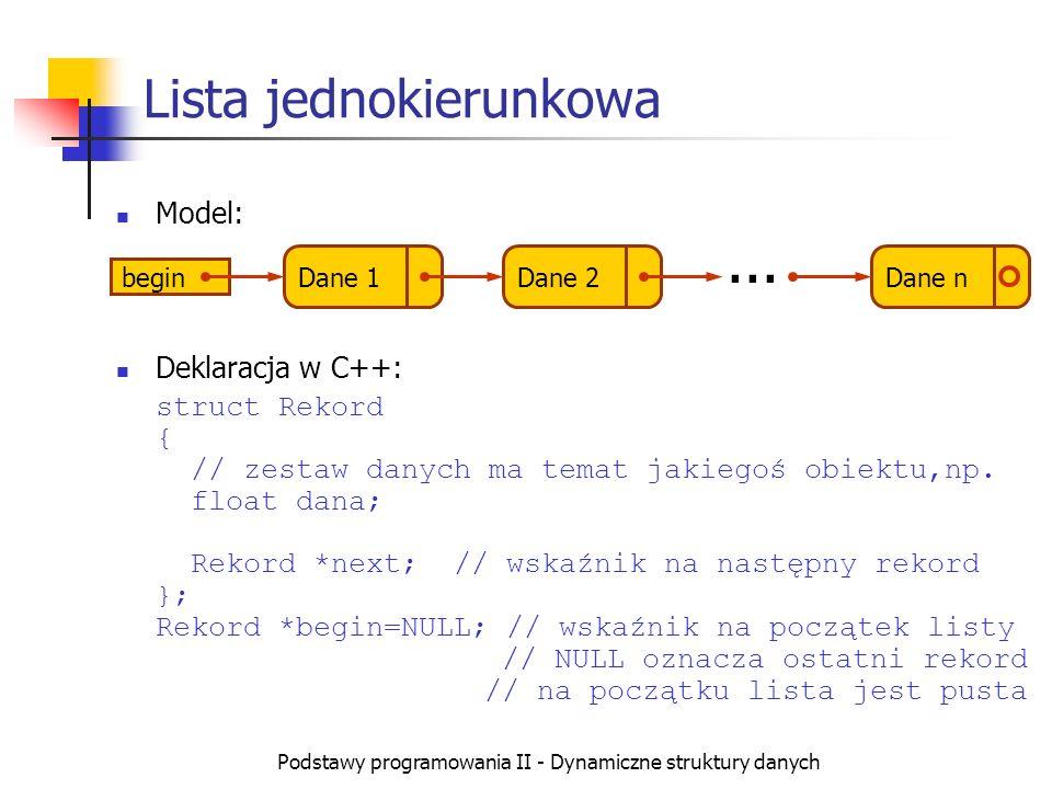 Podstawy programowania II - Dynamiczne struktury danych Przeglądanie listy Służy do tego wskaźnik, który początkowo wskazuje na początek listy, a następnie cyklicznie przesuwa się na element następny aż do napotkania wartości NULL ; void PokazListe() { if (begin==NULL) cout dana next; } } }