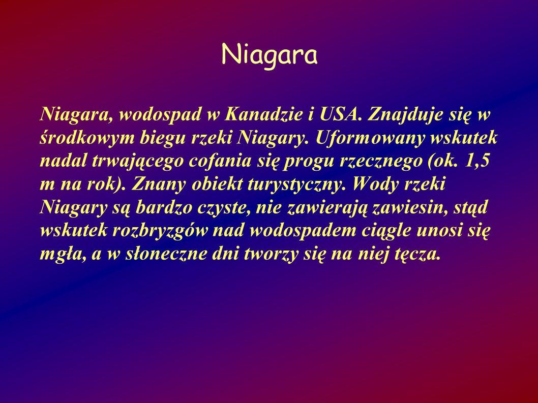 Niagara Niagara, wodospad w Kanadzie i USA. Znajduje się w środkowym biegu rzeki Niagary. Uformowany wskutek nadal trwającego cofania się progu rzeczn