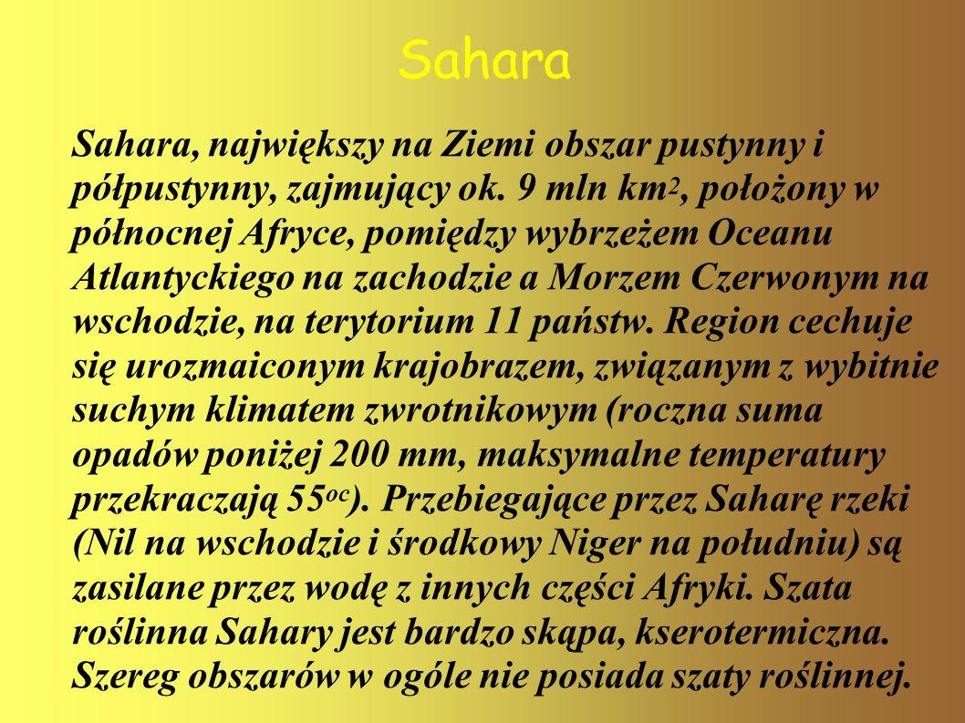 Sahara Sahara, największy na Ziemi obszar pustynny i półpustynny, zajmujący ok. 9 mln km 2, położony w północnej Afryce, pomiędzy wybrzeżem Oceanu Atl