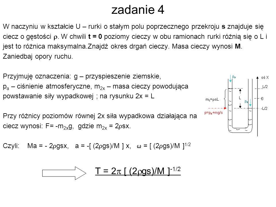 zadanie 4 W naczyniu w kształcie U – rurki o stałym polu poprzecznego przekroju s znajduje się ciecz o gęstości. W chwili t = 0 poziomy cieczy w obu r