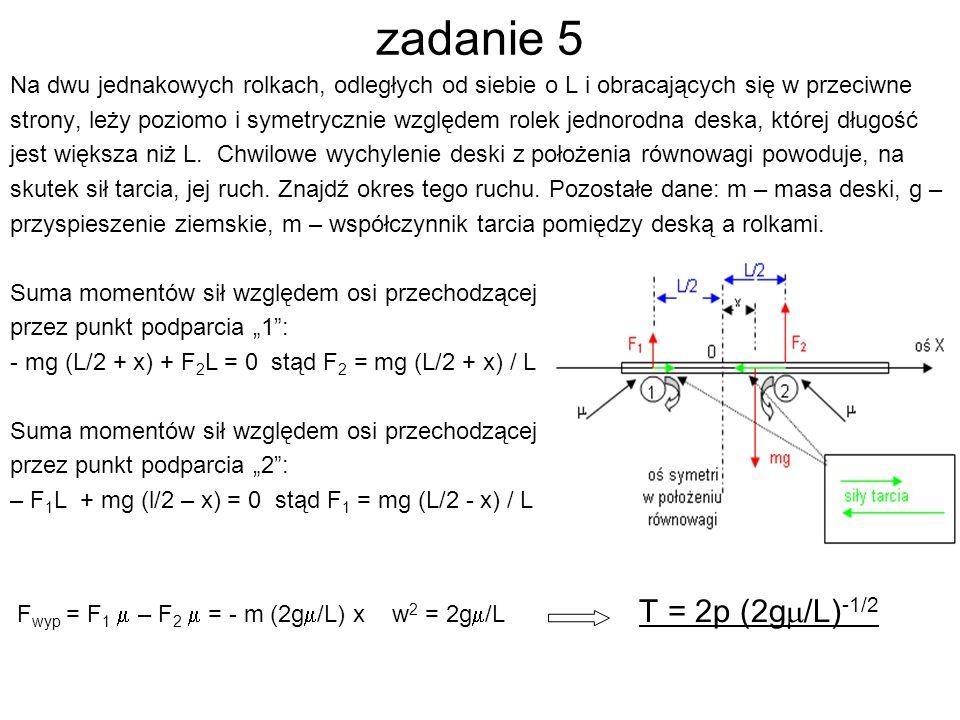 zadanie 5 Na dwu jednakowych rolkach, odległych od siebie o L i obracających się w przeciwne strony, leży poziomo i symetrycznie względem rolek jednorodna deska, której długość jest większa niż L.