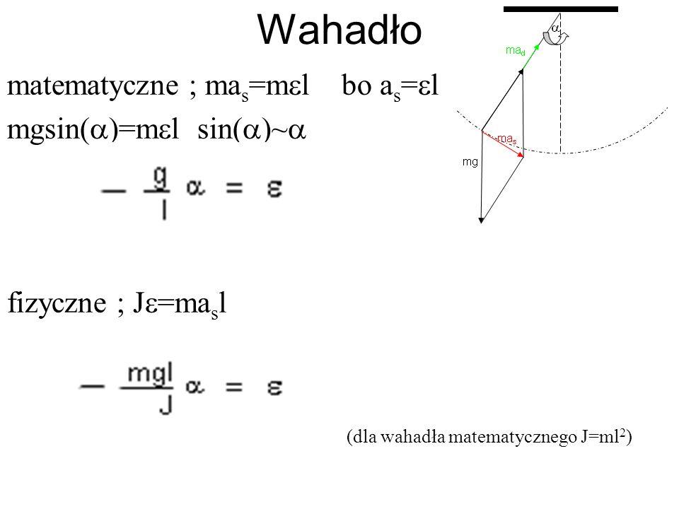 Wahadło matematyczne ; ma s =m l bo a s = l mgsin( )=m l sin( )~ fizyczne ; J =ma s l (dla wahadła matematycznego J=ml 2 )