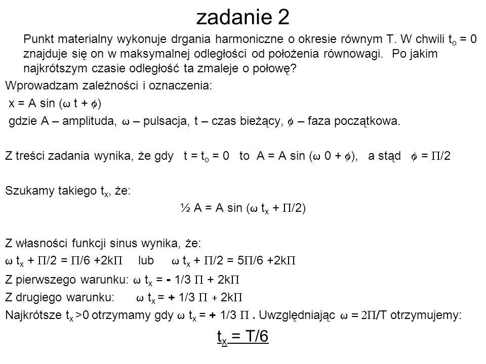 zadanie 2 Punkt materialny wykonuje drgania harmoniczne o okresie równym T.