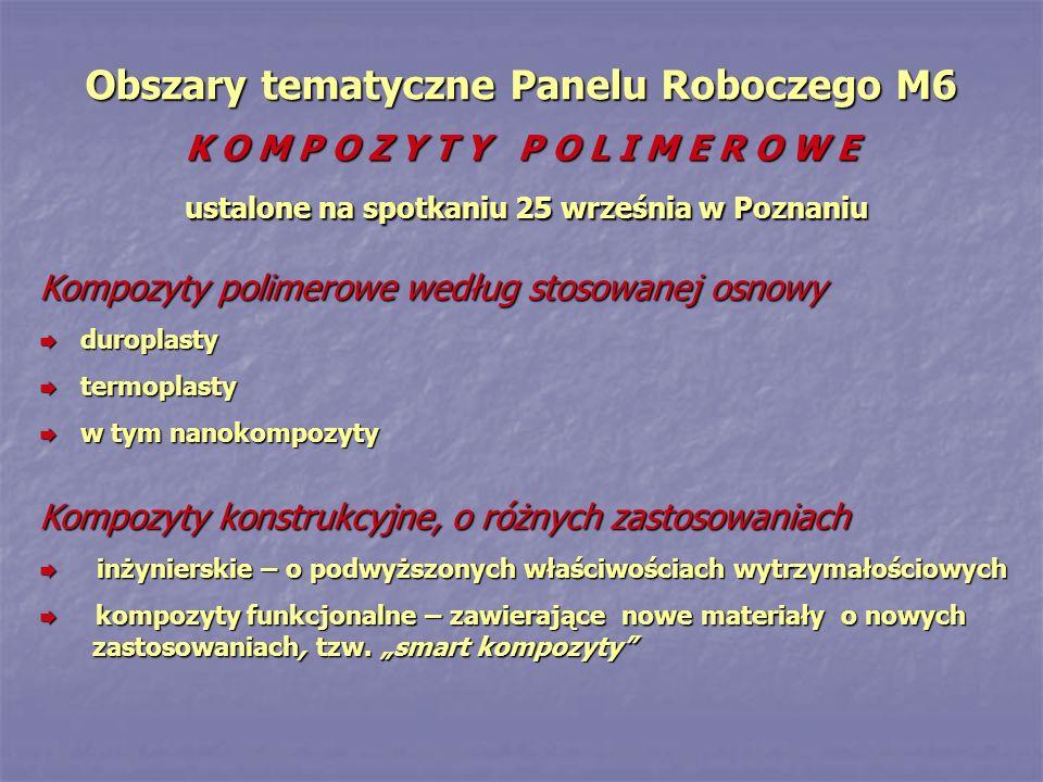 Obszary tematyczne Panelu Roboczego M6 K O M P O Z Y T Y P O L I M E R O W E ustalone na spotkaniu 25 września w Poznaniu Kompozyty polimerowe według